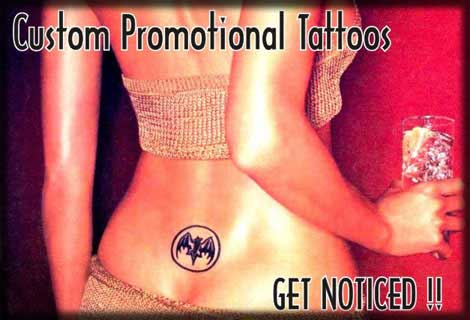 Custom Temporary Tattoos, Custom Promotional Tattoos, Company Logo Body Tatts Wholsale, Personalized Temporary Tattoos Manufacturers